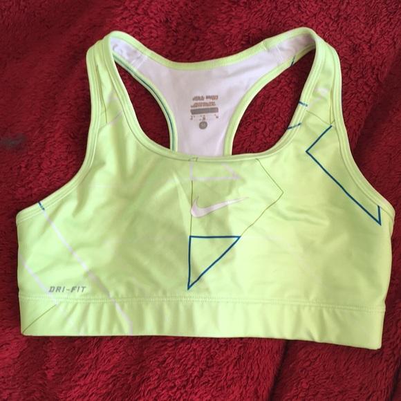 287470ea1e762 Nike Drifit Sports Bra Neon Yellow And Blue Sz M